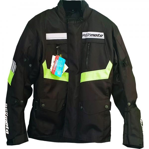 RevMoto Motorradjacke Textil schwarz-fluo-gelb SALE