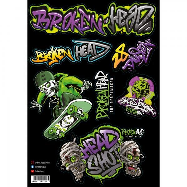 """Broken Head Aufkleber Set A3 Set """"Graffiti"""""""