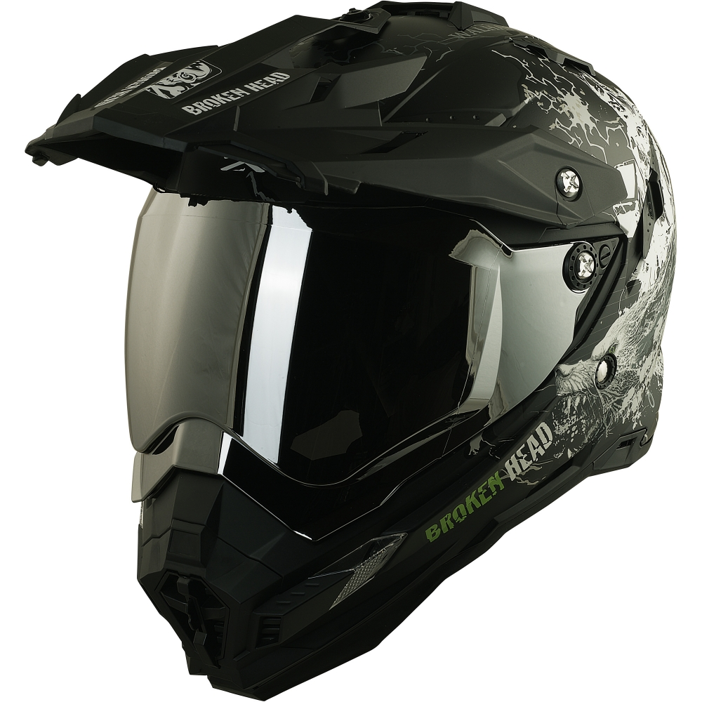 broken head fullgas viking schwarz matt enduro motocross helm set incl silber verspiegeltem visier. Black Bedroom Furniture Sets. Home Design Ideas