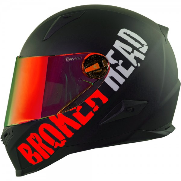 Broken Head BeProud Rot Set Motorradhelm incl. rot verspiegeltem Visier | Mirror Edition