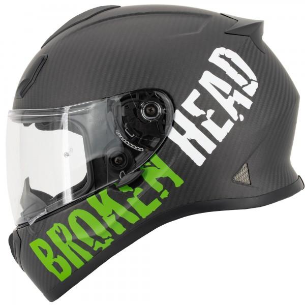 Broken Head BeProud Carbon Grün Racing-Helm - Limited Edition