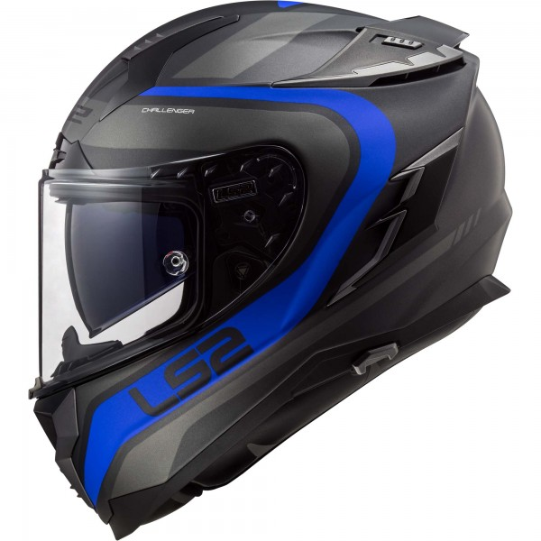 Racinghelm LS2 FF327 Challenger Fusion Titan-Blau Matt