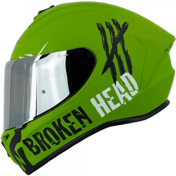 Broken Head Integralhelm Adrenalin Therapy 4X Military + silber verspiegeltes Visier