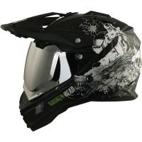 Broken Head Fullgas Viking schwarz matt Enduro Motocross Helm Set incl. silber verspiegeltem Visier