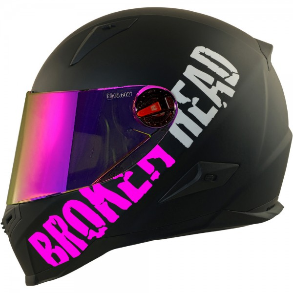 Broken Head BeProud Pink Set Motorradhelm incl. pink verspiegeltem Visier | Mirror Edition