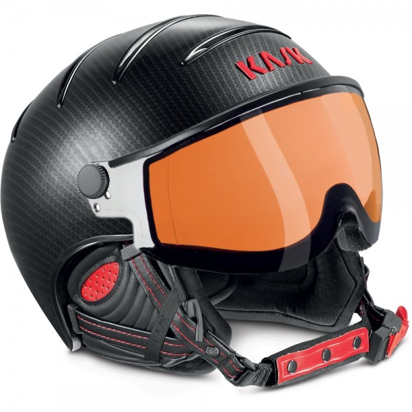 Kask Skihelm Elite Pro II Carbon-Black-Red photochromatic