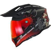 Broken Head Endurohelm Road Pirate VX2 Rot SET inkl. rot verspiegeltem Visier