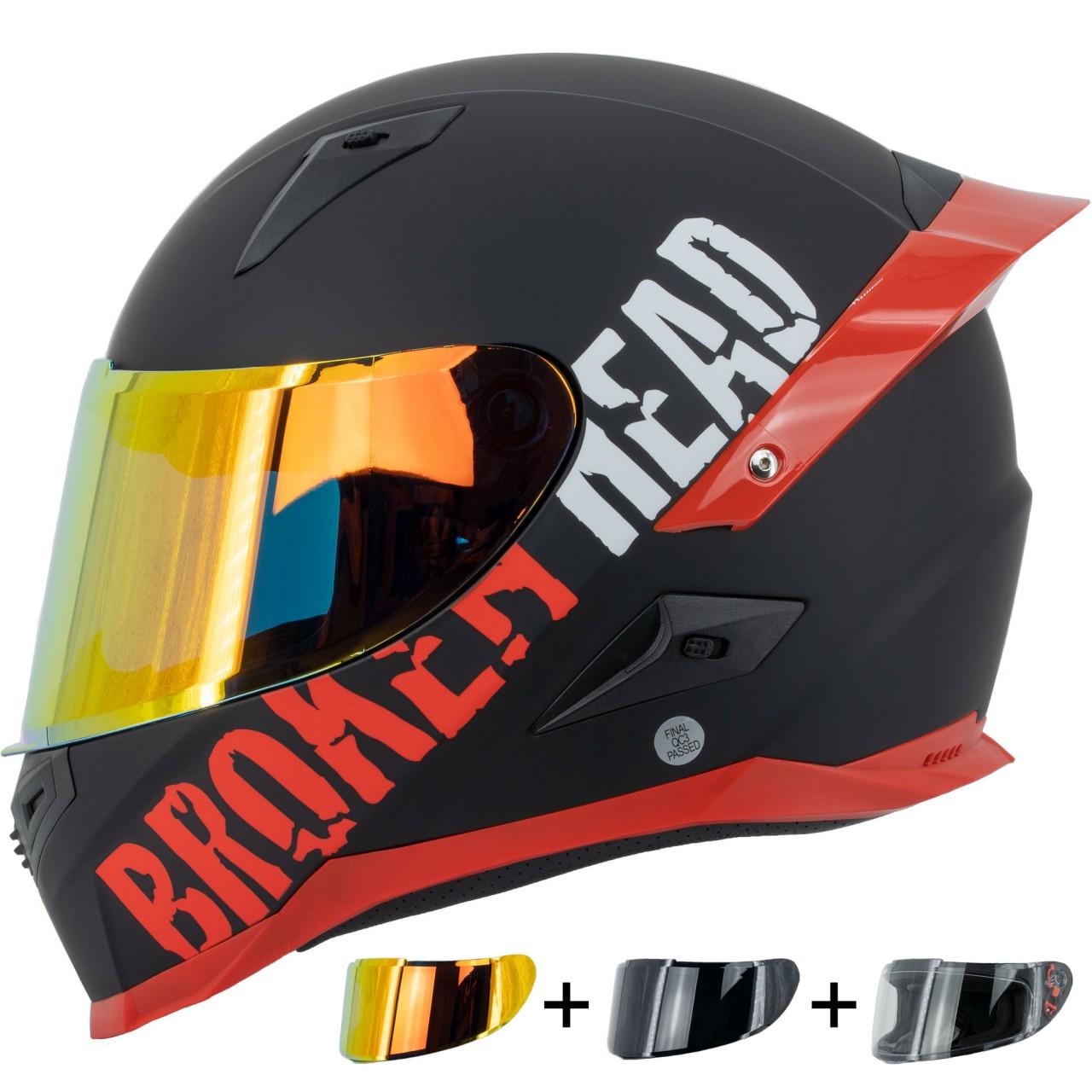 Sturzhelme Broken Head BeProud Pro Rot | Limited Mirror Edition | inkl. schwarzem + rot-...