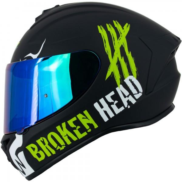 Broken Head Integralhelm Adrenalin Therapy 4X Schwarz-Weiß + grün verspiegeltes Visier