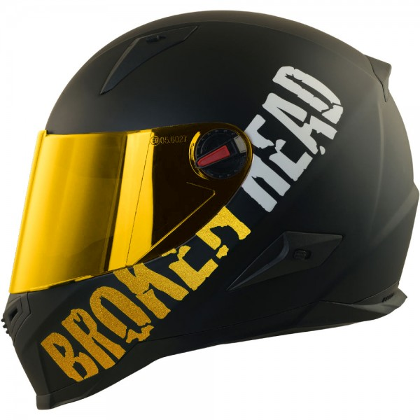 Broken Head BeProud Gold Set Motorradhelm incl. gold verspiegeltem Visier | Limited Edition