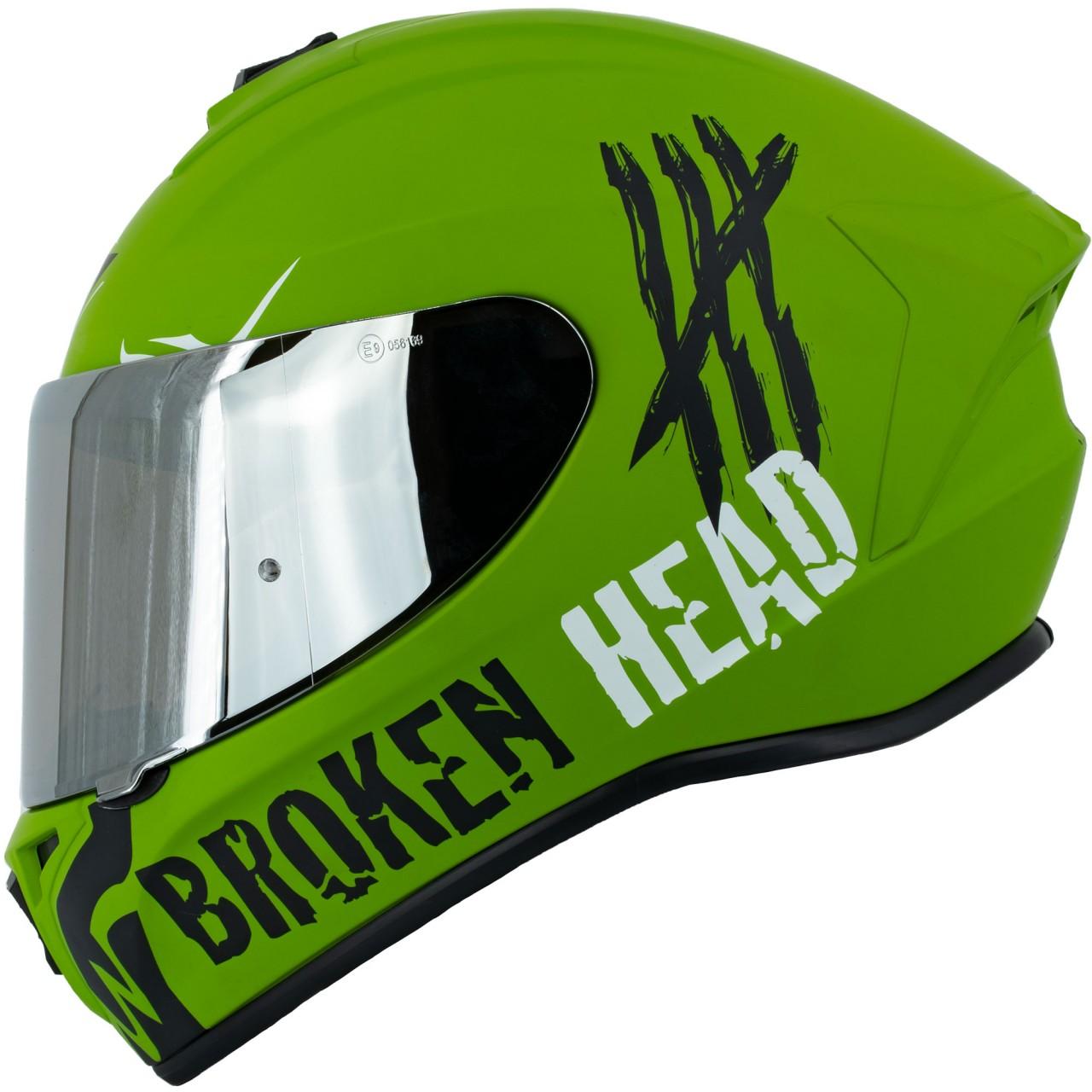 Sturzhelme Integralhelme Broken Head Integralhelm Adrenalin Therapy 4X Military + silber verspiegeltes...