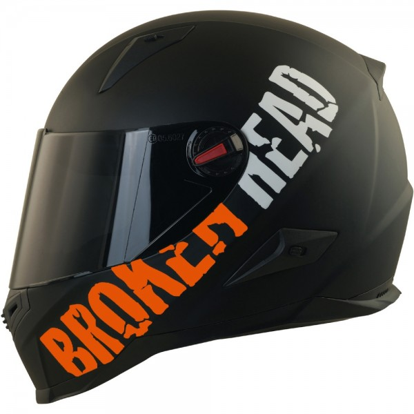 Broken Head BeProud Orange Set Motorradhelm incl. schwarzem Visier
